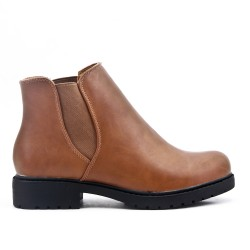 Bottine kaki élastiqué en simili cuir