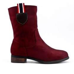 Botte rouge en simili daim