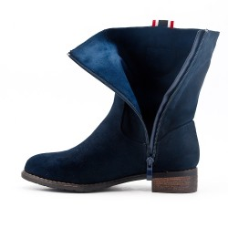 Blue suede faux boot