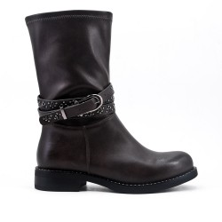 Gray imitation leather boot with rhinestone straps