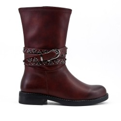 Red leatherette boot with rhinestone straps
