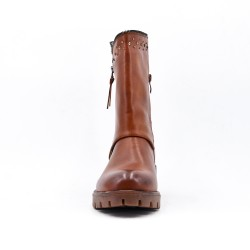 Camel imitation leather boot with rhinestones