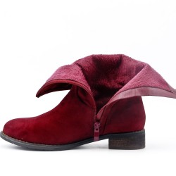Red boot in faux suede