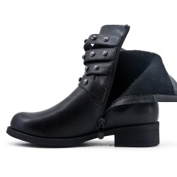 Black boot in faux suede