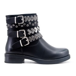 Black leather studded studded boot