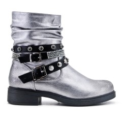 Silver imitation leather boot with rhinestone straps