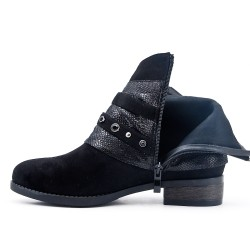 Black suede leather boot with rhinestone straps
