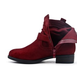 Red ankle boot with buckled bridle