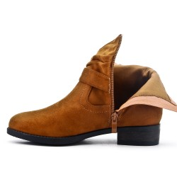 Camel ankle boot with buckled bridle