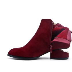 Red ankle boot in faux suede with pompom