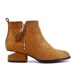Camel ankle boot in faux suede with pompom