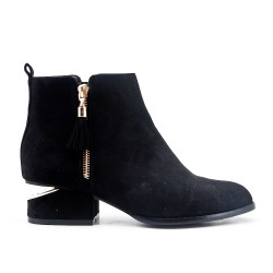 Black ankle boot in faux suede with pompom