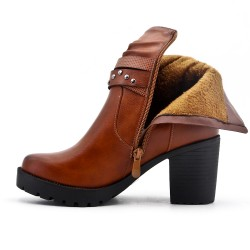 Botte camel en simili cuir à talon