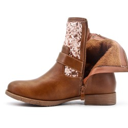 Camel ankle boot with rhinestones