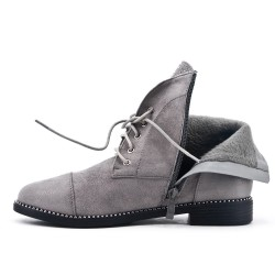 Gray rhinestone lace-up ankle boot