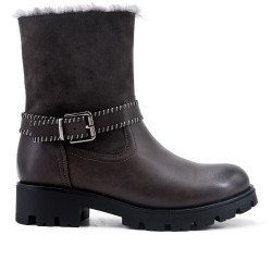 Gray imitation leather boot with a fur-lined upper