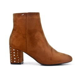 Camel ankle boot in faux suede with rhinestones in the heel