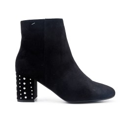 Black ankle boot in faux suede with rhinestones in the heel
