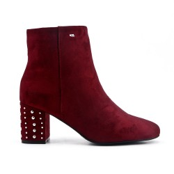 Red suede ankle boot with rhinestones in the heel