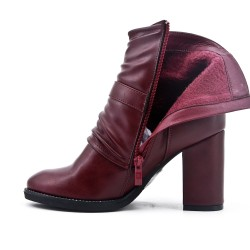Botte rouge en simili cuir à talon