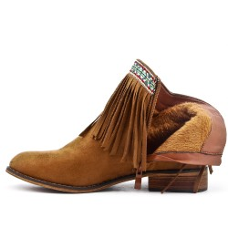 Camel ankle boot in faux suede with fringe