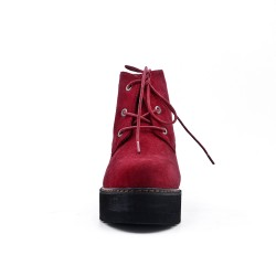 Red suede ankle boot with platform