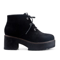 Black suede ankle boot with platform