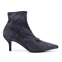 Gray ankle boot in faux suede with heel