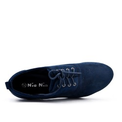 Blue suede faux leather shoe with lace