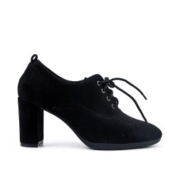 Black suede faux leather shoe with lace