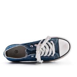 Basket bleu pailletée à lacet