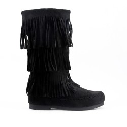 Black buckskin boot with bangs