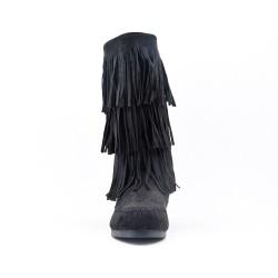 Bota de gamuza negra con flequillo