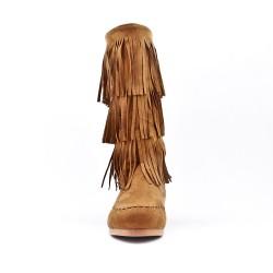 Bota de gamuza camel con flequillo