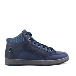 Blue high-top sneaker in faux leather