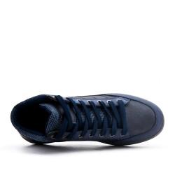 Basket montante bleu en simili cuir