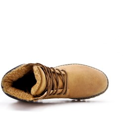 Camel lace-up boot with visible seam