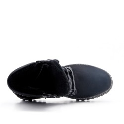 Black lace up shoe with visible seam