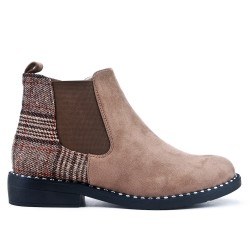Khaki ankle boot with check pattern