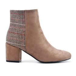 Khaki ankle boot with check pattern with heel