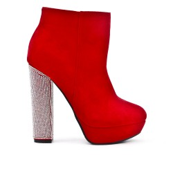 Red ankle boot with rhinestones