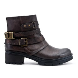 Coffee leather ankle boot with buckled bridle