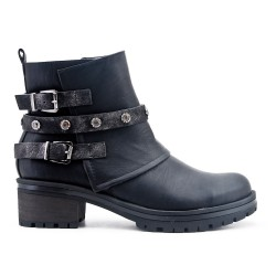 Black imitation leather ankle boot with rhinestone straps