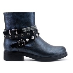 Black faux leather buckled buckle boot