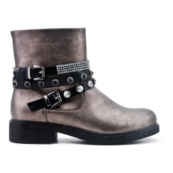 Gray faux leather buckled buckle boot
