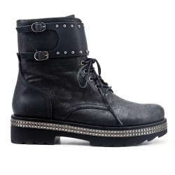 Black imitation leather ankle boot with rhinestone sole