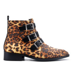 Leopard boots with buckled bridle