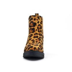 Bottine léopard empiècement élastique à talon