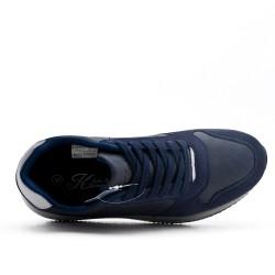 Basket bleu en simili cuir à lacet