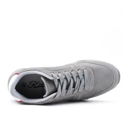 Basket grise en simili cuir à lacet